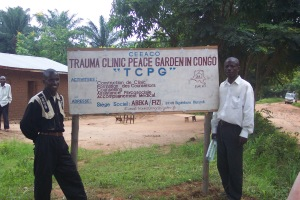 CEEACO's Trauma Clinic and Peace Garden is to be built on the lake shore at Abeka - there is already a sign at the main road
