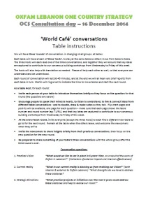 OCS Consultation day - world cafe table instructions